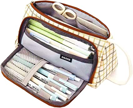 Maomaoyu - Estuche para lápices (tamaño grande), diseño de flores, color marrón y blanco: Amazon.es: Oficina y papelería