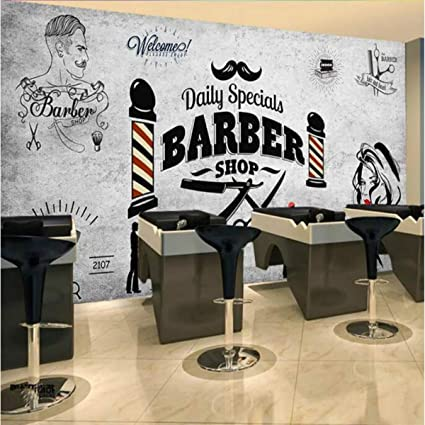 Wpchou Wallpaper 3d Barber Shop Background Wall Decoration