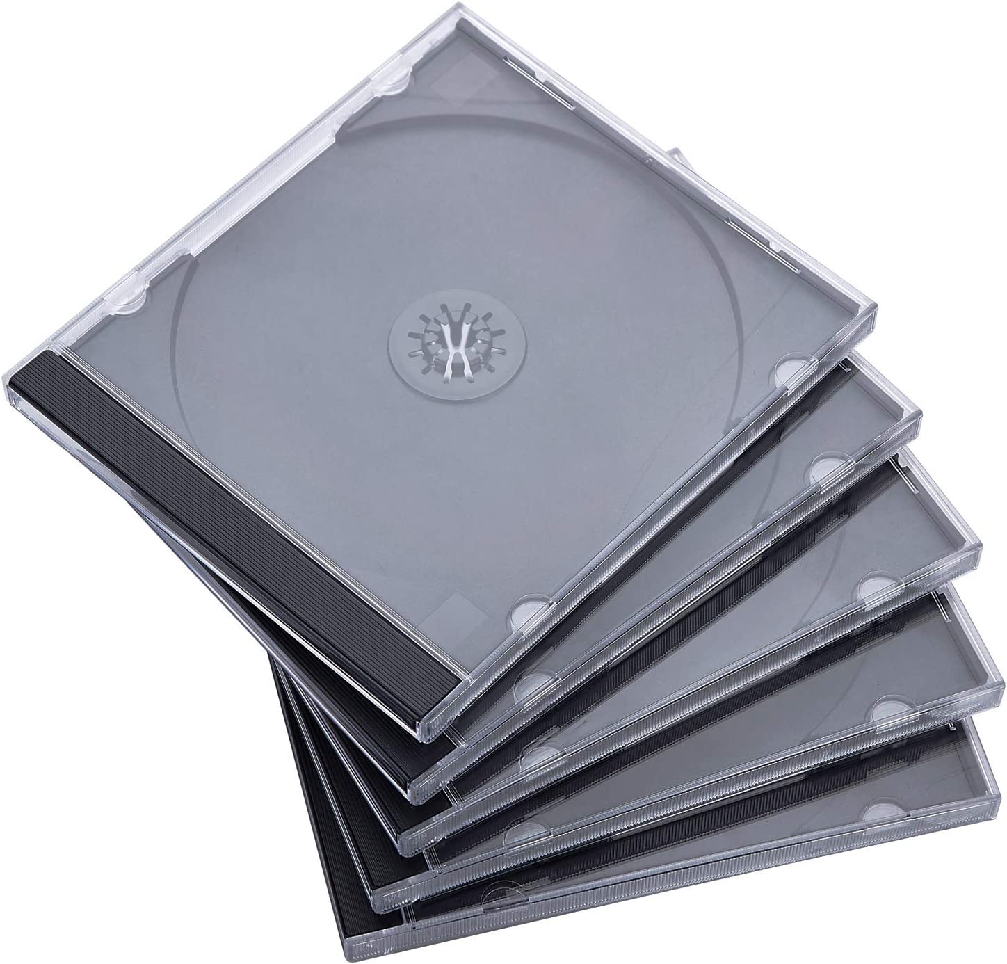 Maxtek 10.4 mm Standard Single Clear CD Jewel Case with Assembled Black Tray 50 Pack