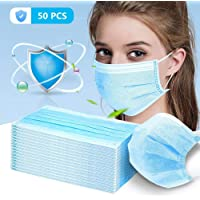 Strong Protection Masks 50 PC Disposable Sanitary Surgical Face Masks/Hypoallergenic Thick 3-Ply Cotton Filter Mask (Blue) (B)