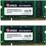 QUMOX MACMEMORY Apple 4GB Kit (2x 2GB) PC2-6300 PC2-6400 800MHz DDR2 SODIMM Memoria per Apple
