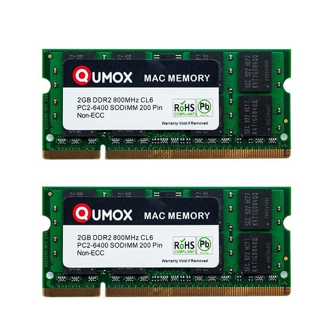 34 opinioni per QUMOX MACMEMORY Apple 4GB Kit (2x 2GB) PC2-6300 PC2-6400 800MHz DDR2 SODIMM