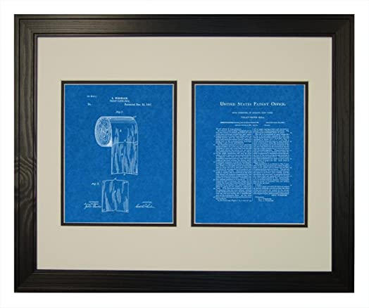 Toilet paper roll patent art blueprint print in a solid pine wood toilet paper roll patent art blueprint print in a solid pine wood frame 16quot malvernweather Gallery