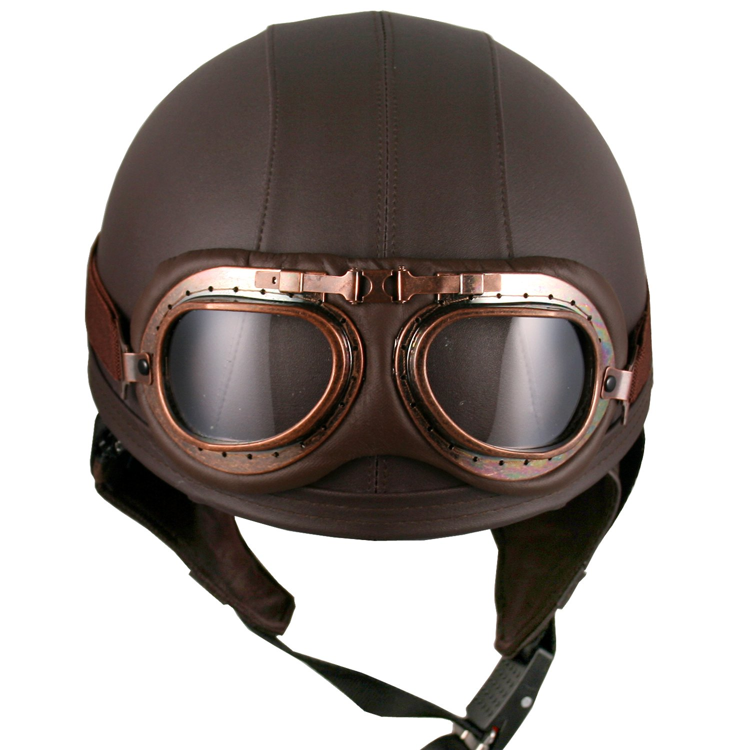 Amazon Leather Brown Motorcycle Goggles Vintage Garman Style Half Helmets Biker Cruiser Scooter Touring Helmet Automotive