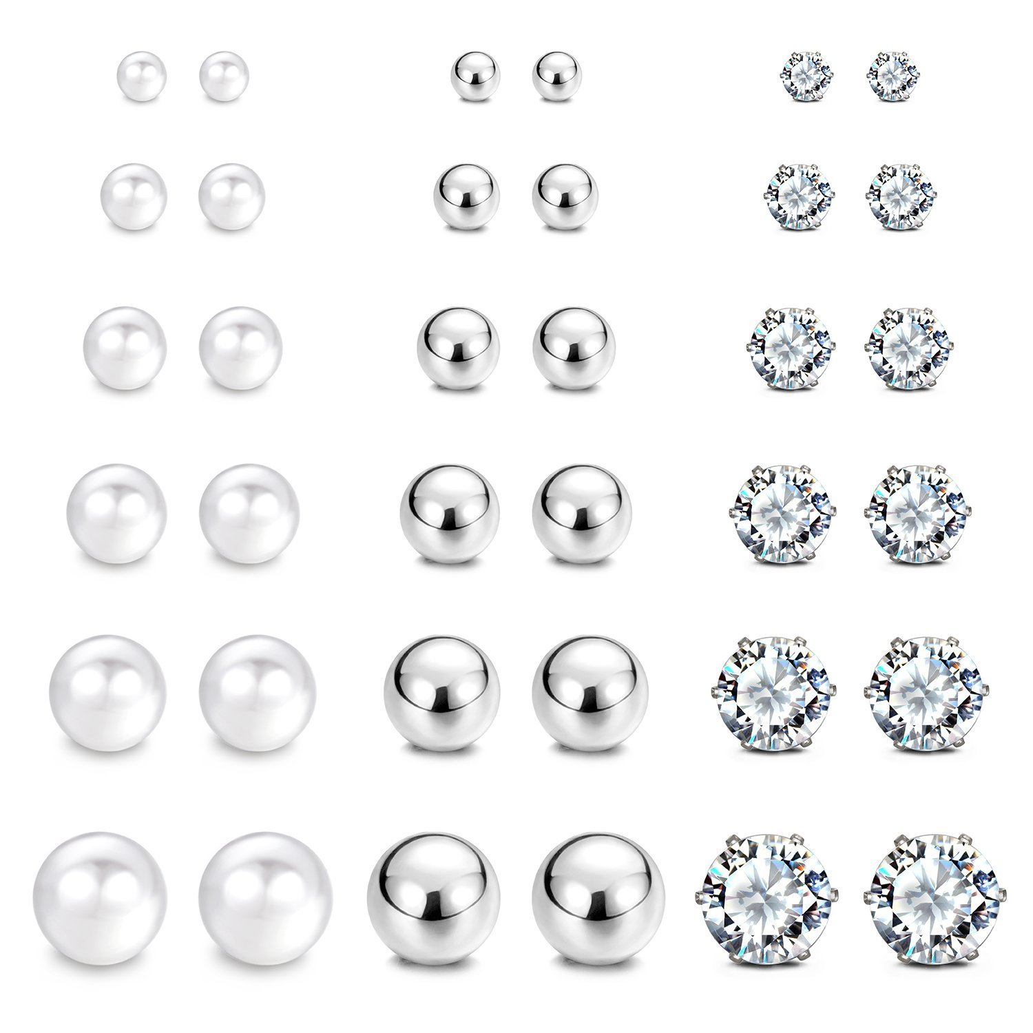 JewelrieShop Stainless Steel Cubic Zirconia Studs Earrings Round Ball Earrings Faux Pearl Earrings Set Hypoallergenic for Women Girls (8 Pairs/18 pairs)