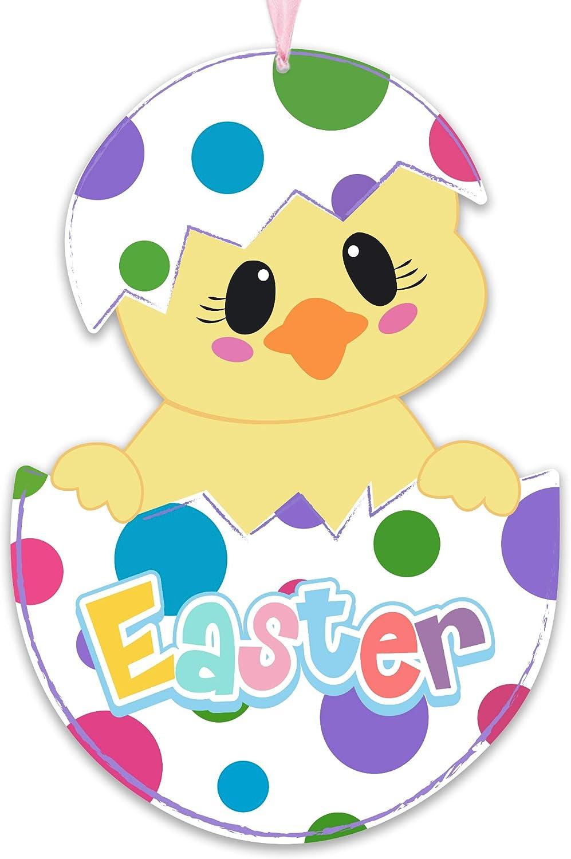 GEGEWOO Easter Door Decorations Happy Easter Wooden Door Hanger Chicks in Eggs Hanging Door Wall Welcome Sign for Home Indoor Outdoor Easter Decor Supplies