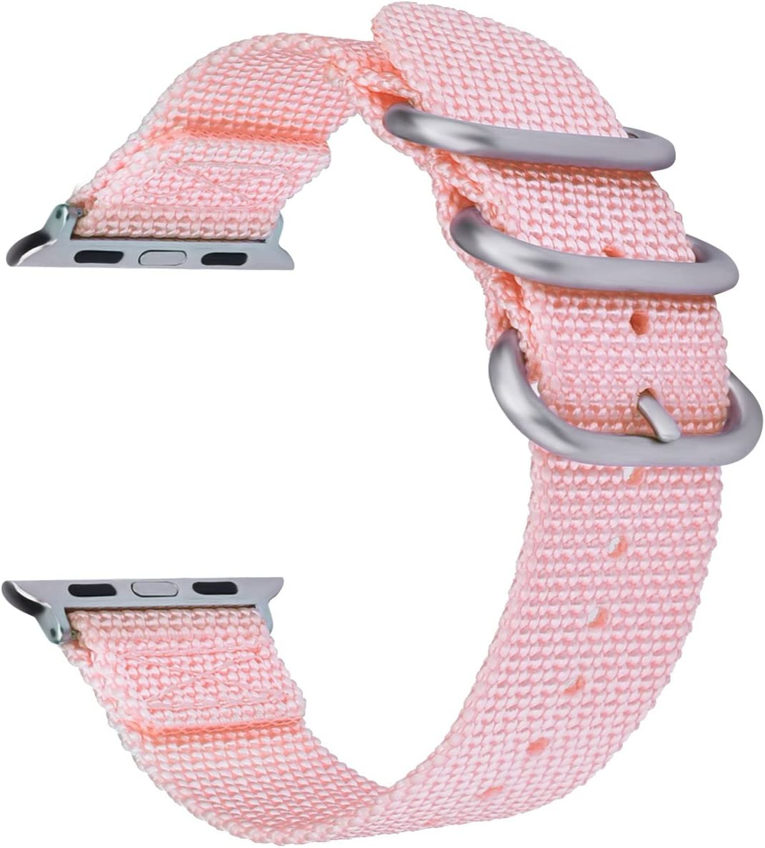 VIGOSS for Apple Watch Band 42mm 38mm Men Women, Soft Woven Nylon NATO iWatch Bands Replacement Strap with Metal Buckle Wristband for Apple Watch Series 3 2 1, Sport,Edition (5-Pink, 38mm)