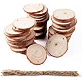 AerWo 50PCS Wood Log Slices Discs for DIY Crafts Wedding Easter Decoration Home Hanging Ornaments(2-2.5in)