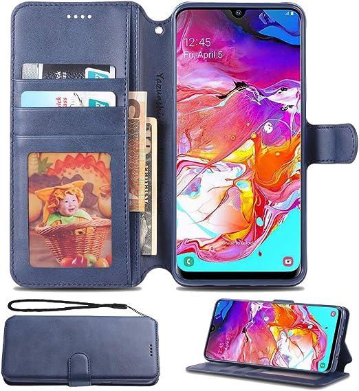 Coque pour Samsung Galaxy A20 - Étui pour Samsung Galaxy A30 - Étui à rabat magnétique en cuir avec emplacements pour cartes de crédit - Bleu