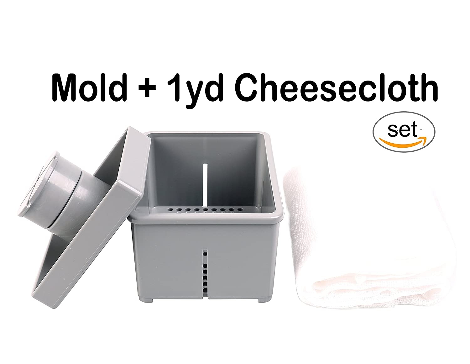 Tofu & Cheese Maker Press Mold with 1 yard unbleached 100% Cotton Cheesecloth SoySo