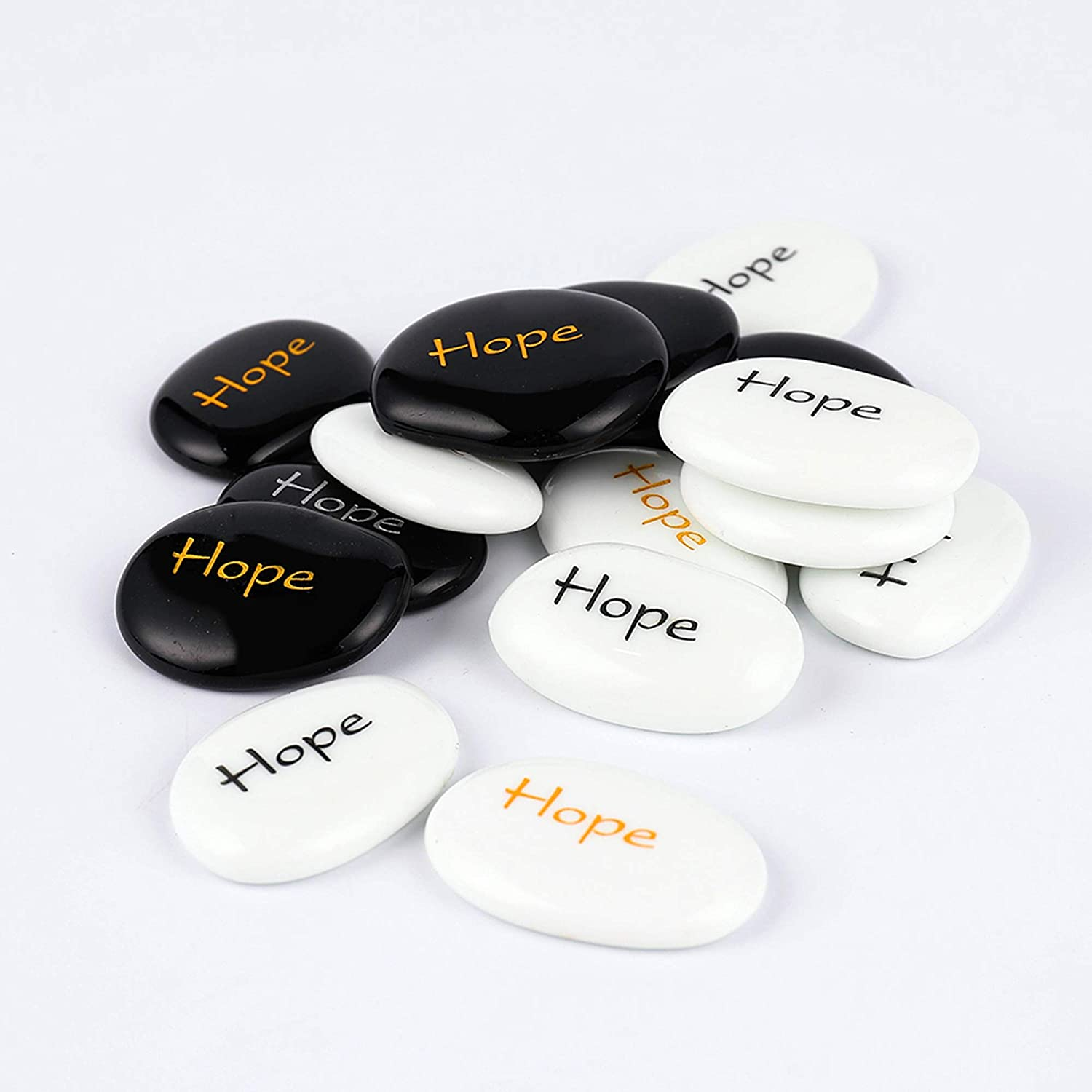 "ROCKIMPACT 50PCS Hope Engraved Inspirational Glass Stones Prayer Stones Gift Pebble Marble Gems Table Scatter Aquarium Decor Vase Beads Healing Stone Encouragement Wholesale Bulk Hope Rocks, 2"" ea"