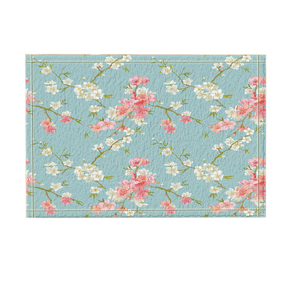 NYMB Floral Decor, Spring Blossom Flowers Bath Rugs for Bathroom, Non-Slip Floor Entryways Outdoor Indoor Front Door Mat, Kids Bath Mat, 15.7x23.6in Pink Light Blue(Multi5)