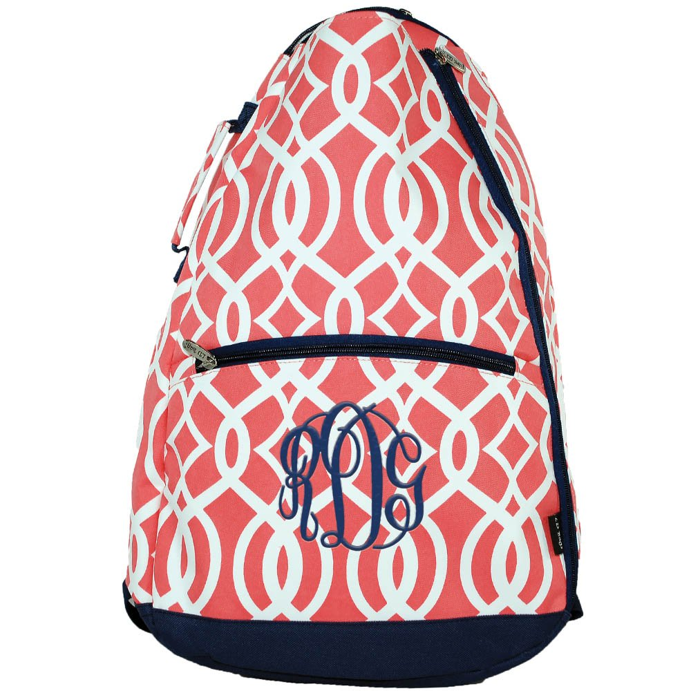 Personalized Coral Vine 2 Racquet Tennis Backpack Bag