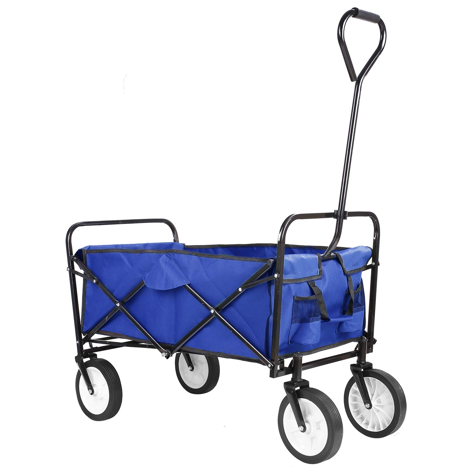 Collapsible Outdoor Utility Wagon, Heavy Duty Folding Garden Portable Hand Cart, with 8'' Rubber Wheels and Drink Holder, Suit for Shopping and Park Picnic, Beach Trip and Camping (Blue) by HEMBOR (Image #2)
