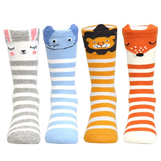 706352f6d Epeius 4 Pair Pack Infants Baby Girls Boys Cartoon Animal Rabbit Fox Lion