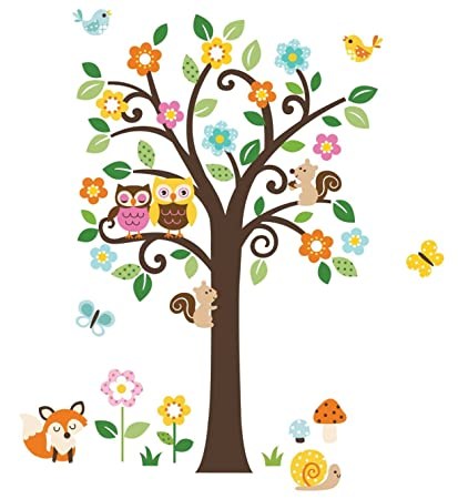 Flowers Tree U0026 Forest Animals Giant Baby/Nursery Wall Sticker Decals (Tree  Assembles 55u0026quot