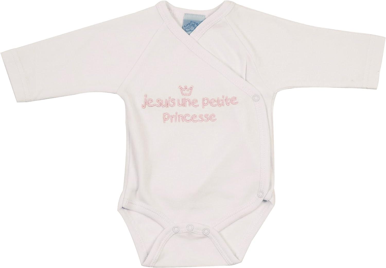 King Bear 65008B Blanc//Brode Rose Je suis une Petite Princesse Body Brassi/ère Brode