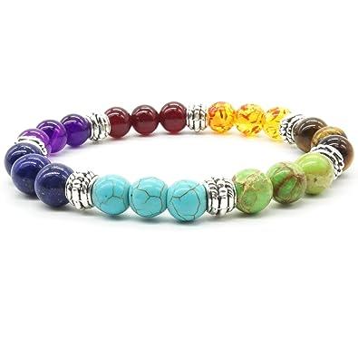 Perles de Pierre Bracelet Turquoise Naturelle 7 Reiki Chakra Élastique  Tibétain Perles de Couleur