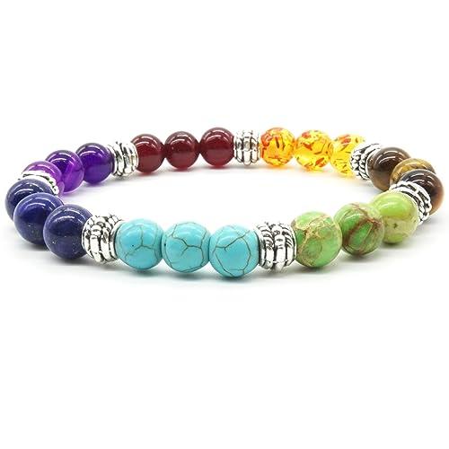 site réputé 59a2f b801e Perles de Pierre Bracelet Turquoise Naturelle 7 Reiki Chakra Élastique  Tibétain Perles de Couleur