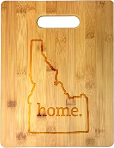 Home State Idaho Outline USA United States Laser Engraved Bamboo Cutting Board - Wedding, Housewarming, Anniversary, Birthday, Father's Day, Gift (Idaho)
