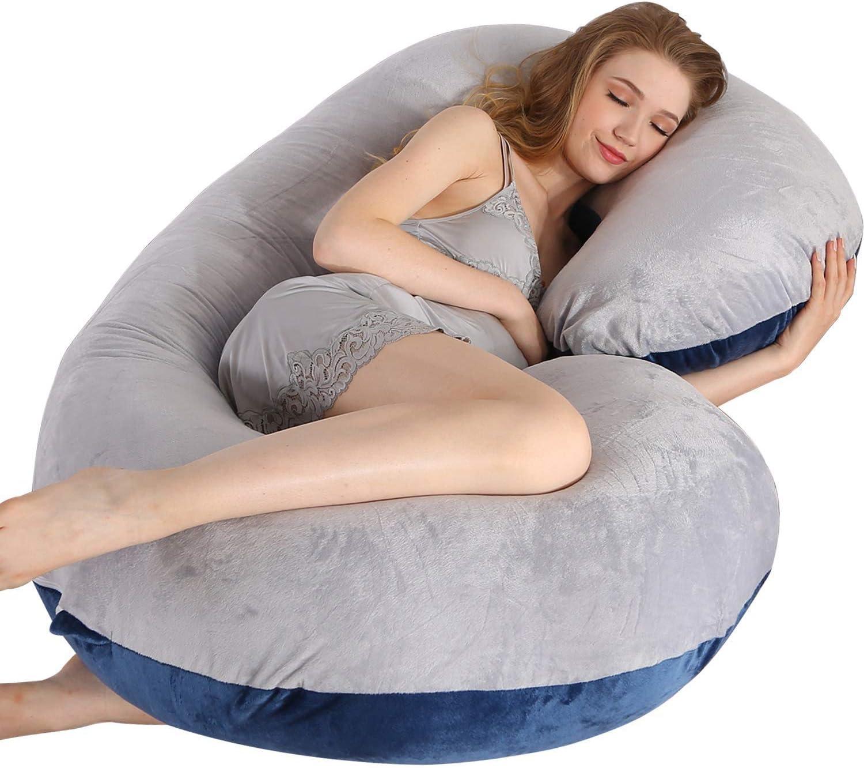 Wesimplelife Almohada Embarazada Multifuncional Almohada de Cuerpo Completo con Forma de C Grande Funda de Terciopelo reemplazable y Lavable para Dormir y Alimentar 145cm(Gris Azul)