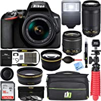 Nikon D3500 24.2MP DSLR Camera with AF-P 18-55mm VR Lens & 70-300mm Dual Zoom Lens Kit 1588 (Renewed) with 16GB…