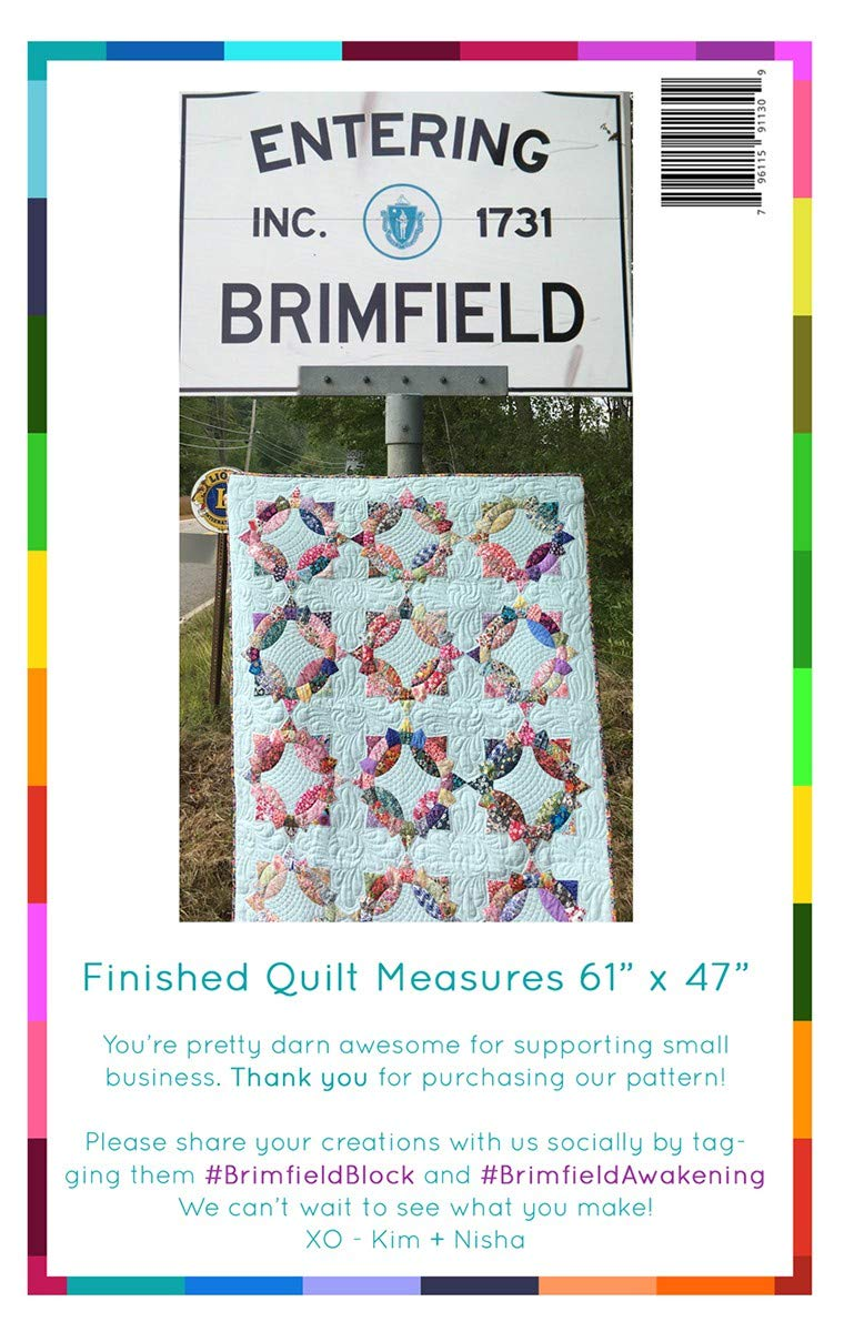 Finished Project Size is 61 x 47 Brimfield Awakening Paper Pieced Quilt Pattern BA1130 Brimfield Block Original