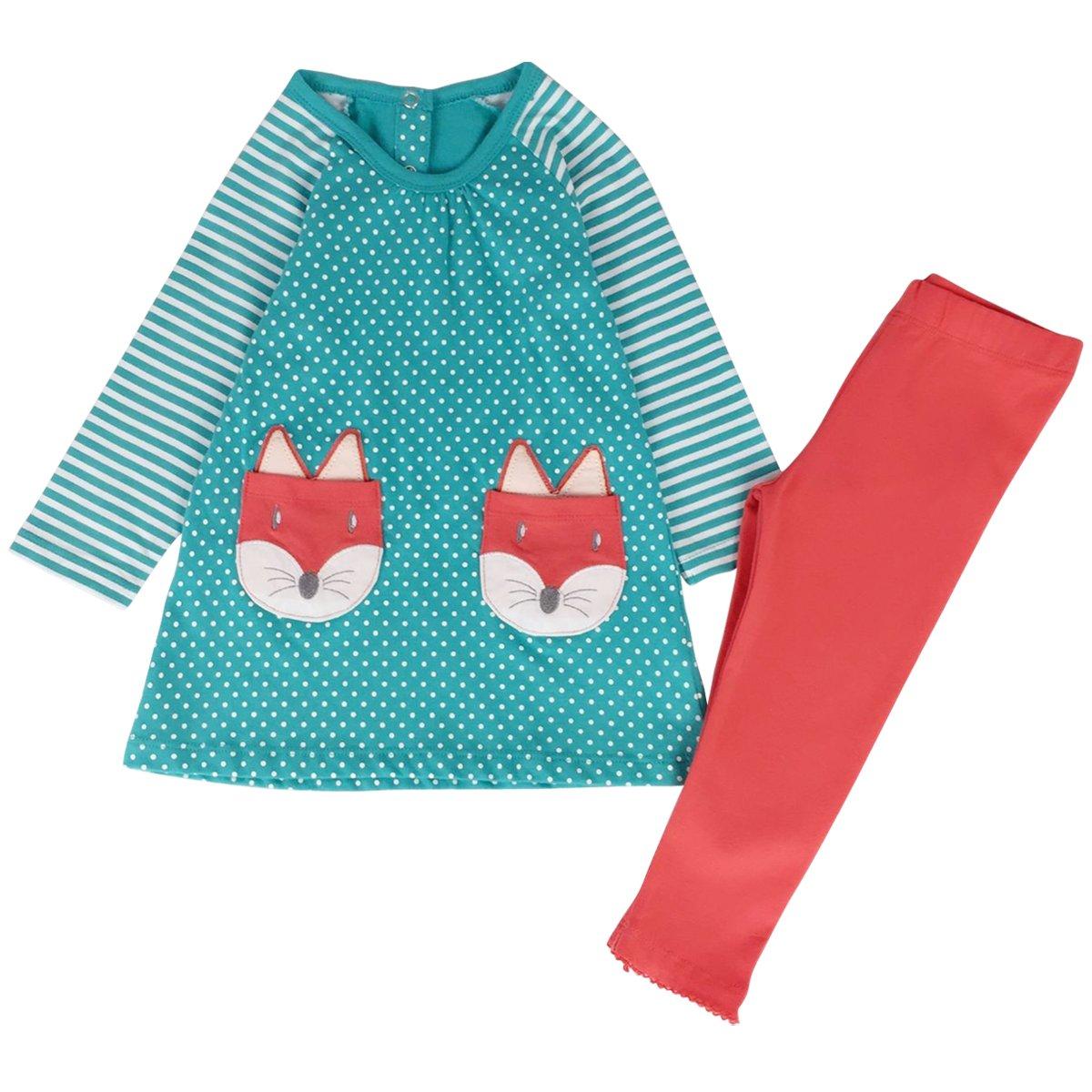 Jastore Kids Girl Cute 2PCS Striped Clothing Set Long Sleeve Top +Leggings Outfits (7T, Blue)