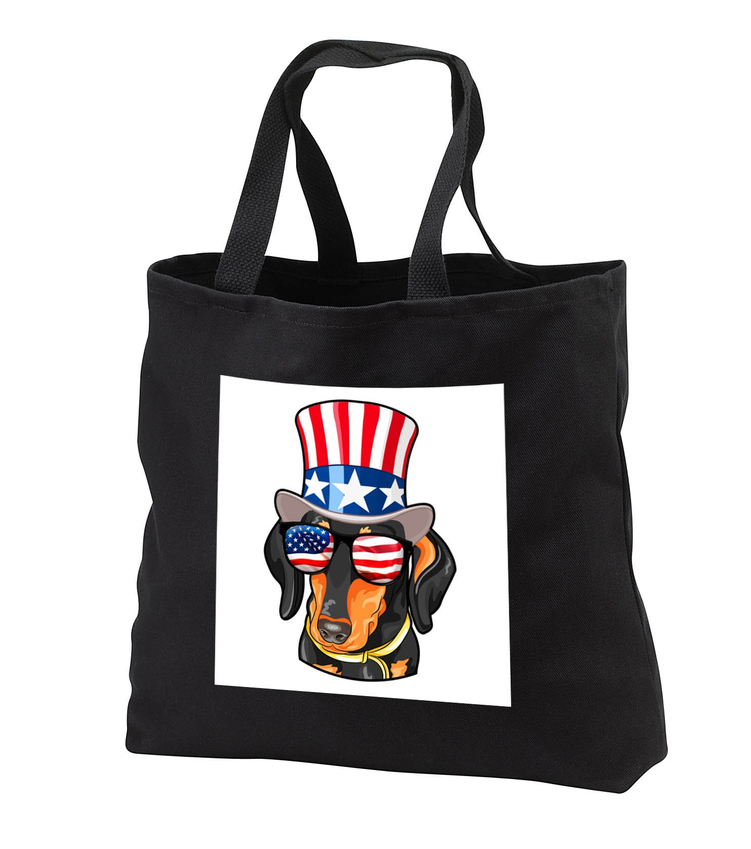 Patriotic American Dogs - Dachshund Dog With American Flag Sunglasses and Top hat - Tote Bags - Black Tote Bag JUMBO 20w x 15h x 5d (tb_282712_3)