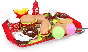 FLASNAKE High Simulation Burger &Hot Dog &ice Cream Toys of Kids,Pretend Play Fast Food Set,Ages2+