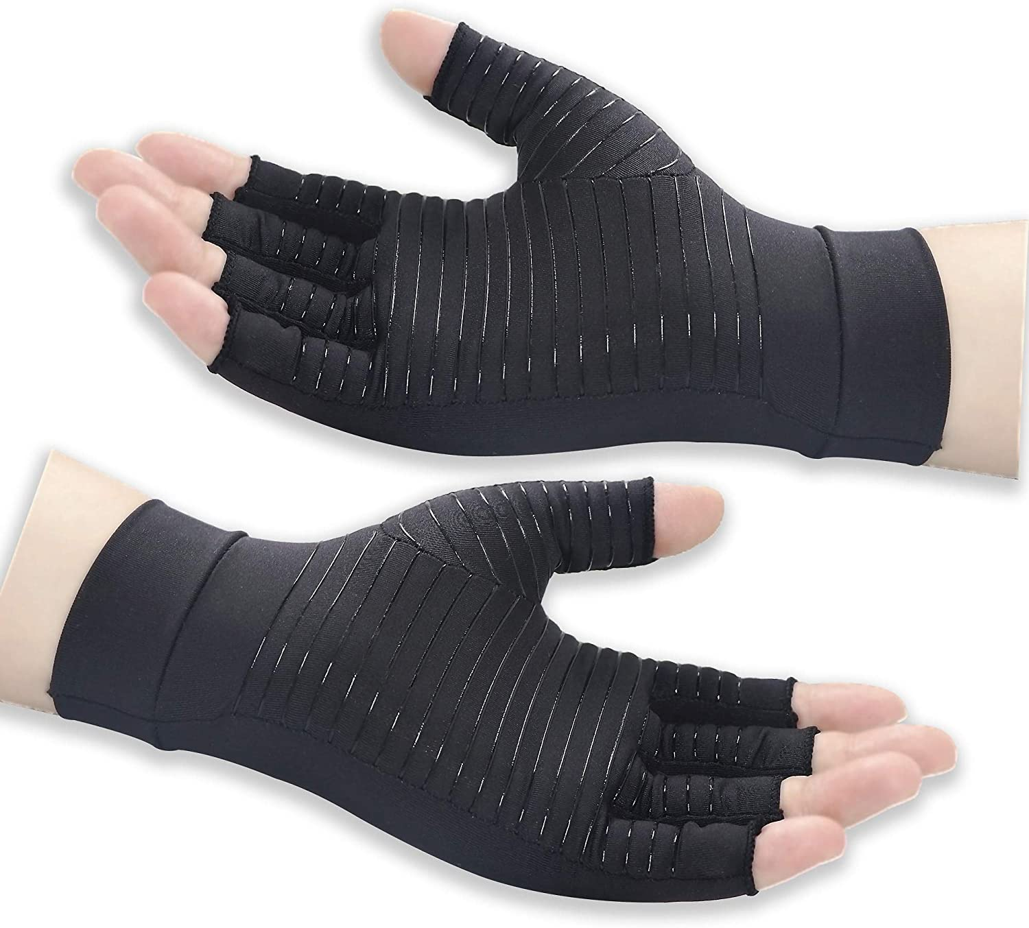 Copper Arthritis Gloves for Women and Men, Compression Gloves Relieve Pain from Hand Pain, Swelling and Carpal Tunnel, Fingerless for Typing, Support for Joints, Large