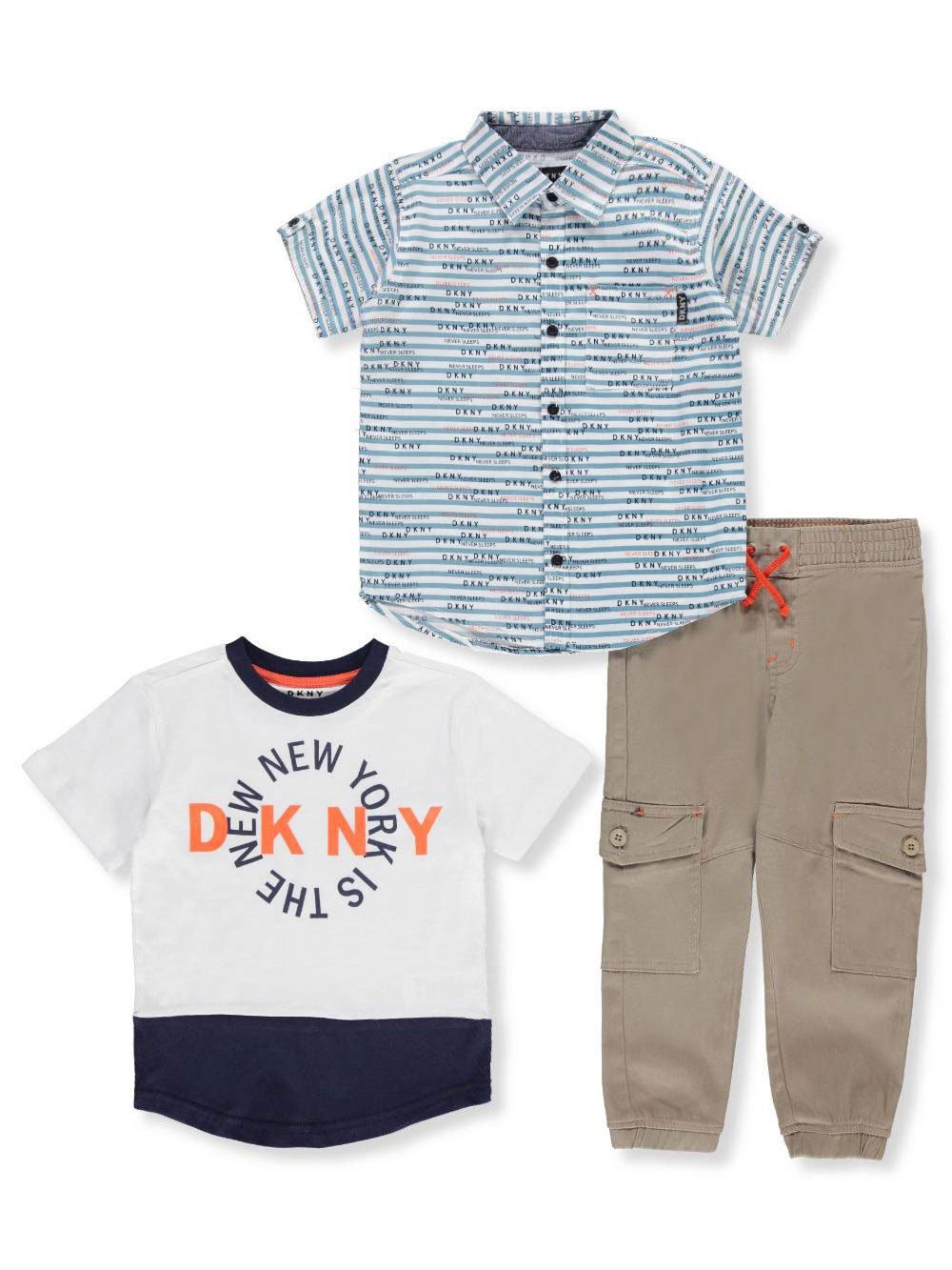 DKNY Little Boys' City Sport Shirt, T-Shirt and Twill Pull-on Cargo Pant, Khaki, 5