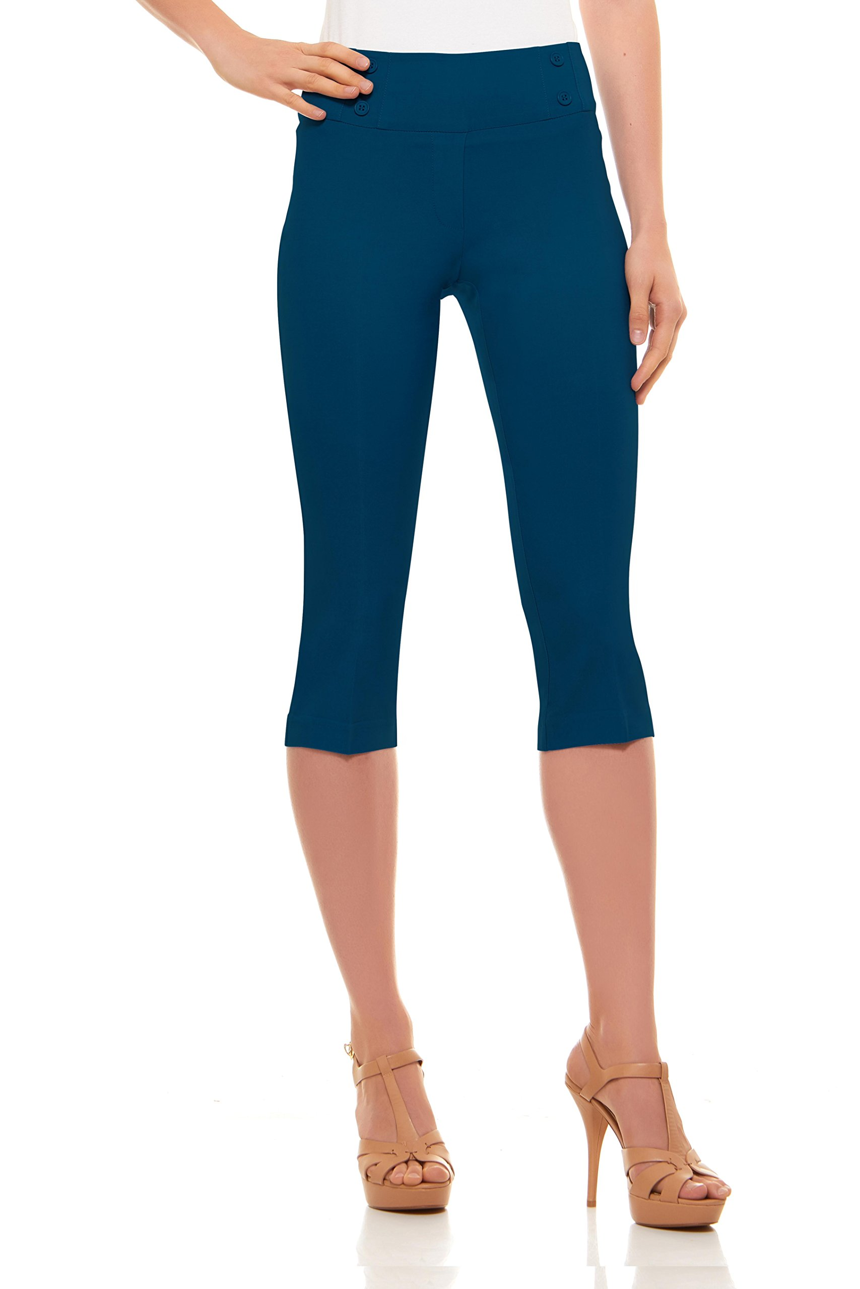 Velucci Womens Classic Fit Capri Pants - Comfortable Pull On Style With Detailed Design, Teal-XXL