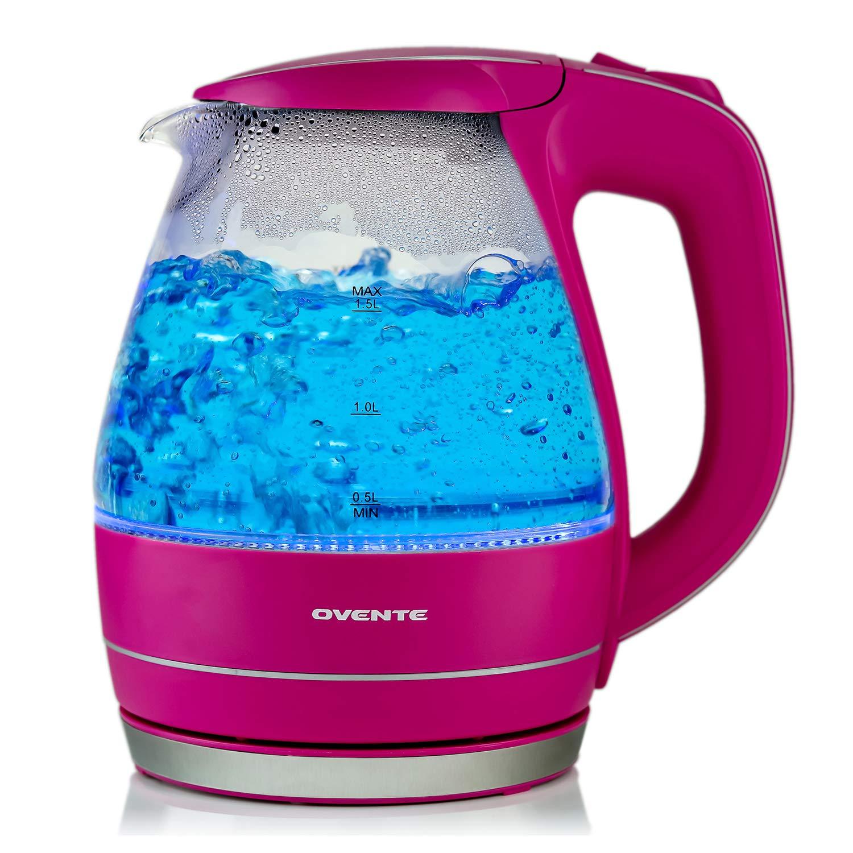 ブルーLED内臓 1.5L ガラス 電気 ケトル  ピンク 並行輸入品   B00RYAIB64