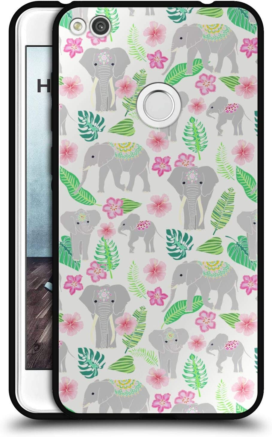 Head Case Designs Officially Licensed Tangerine-Tane Elephants Nature Art Black Hybrid Glass Back Case Compatible with Huawei P8 Lite (2017)