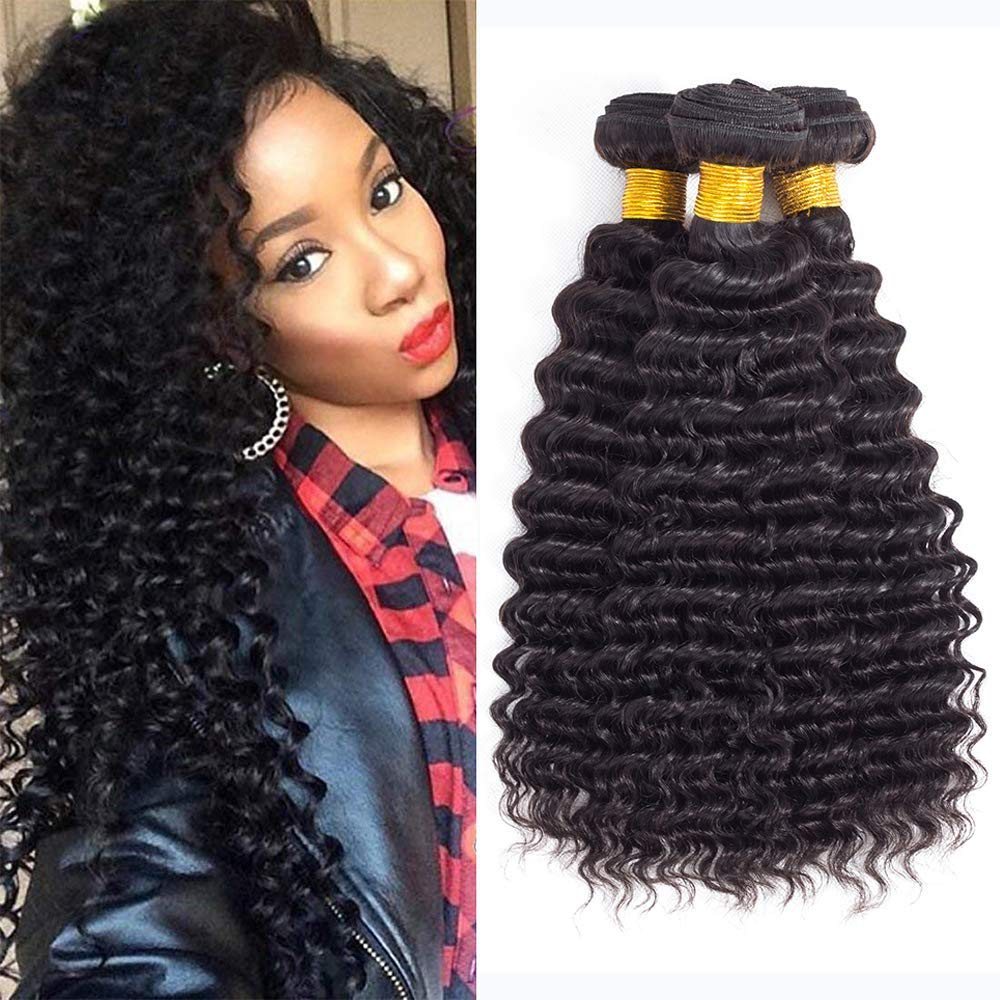 Brazilian Hair Deep Wave Bundles Pineapple Deep Wave Virgin Brazilian Hair Bundles Deep Curly Human Hair Bundles Weave Hair Human Bundles 10 10 10