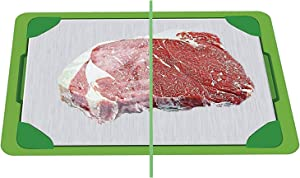QIZRON Defrosting Tray   Fast Thawing Plate Board   Premium Cooling Tray   The Safest Way Rapid Thaw Frozen Foods   HDF High-Density Aerospace Alloy   Water Base Tray
