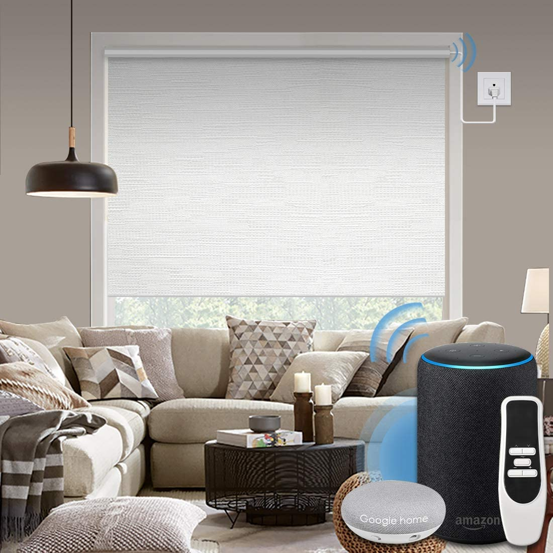 Graywind Motorized 100% Blackout Roller Shade with Alexa Google Smart Home Control Build-in Hardwired Window Shades Thermal Insulated Window Blinds, Customized Size (Jacquard White)