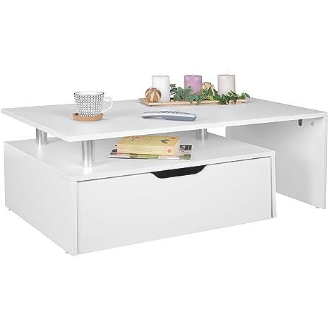 FineBuy Couchtisch mit Schublade MDF-Holz weiß 100 x 36 x 60 cm modern |  Design Wohnzimmertisch flach mit Stauraum | Loungetisch Kaffeetisch