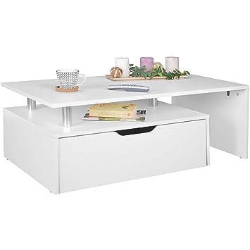 Finebuy Couchtisch Mit Schublade Mdf Holz Weiß 100 X 36 X 60 Cm