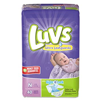 Luvs Ultra Leakguards Diapers with Night Lock, Size N 40 ea (Pack of 4