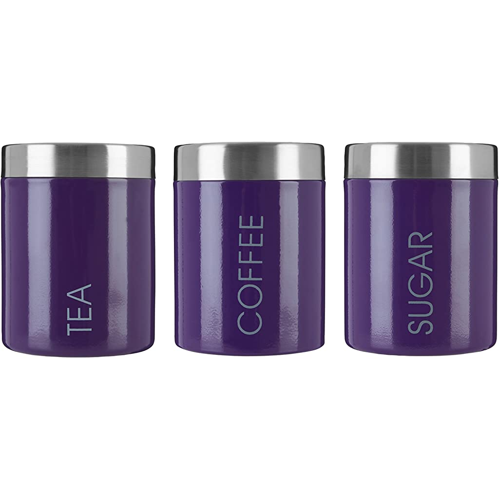 Premier Housewares Purple Tea, Coffee & Sugar Canisters