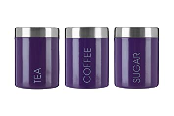 Premier Housewares Liberty Tea, Coffee And Sugar Canisters   Purple, Set Of  3 By
