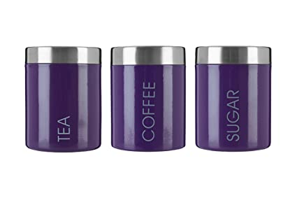 Exceptionnel Premier Housewares Liberty Tea, Coffee And Sugar Canisters   Set Of 3,  Purple