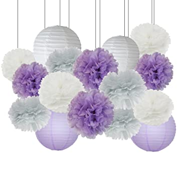 Perfect Elephant Baby Shower Decorations 16 Pcs White Lavender Grey Purple Tissue  Paper Pom Pom Paper Lanterns