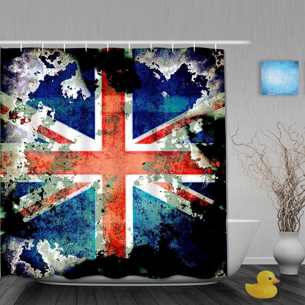 Aliciga Cortina de Ducha,Anciano Extremadamente Sucio Apenado Union Jack Bandera de Gran Bretaña País británico,Tejido de poliéster - con Gancho,180x180