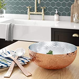 Elegant Copper Hammered Salad Bowl with 2 Serving Utensils - Complete With Matching Oversized Spoon and Fork - Use as a Salad Bowl, Fruit Bowl or Even For Pasta - Beautiful and Stylish Serving Bowl