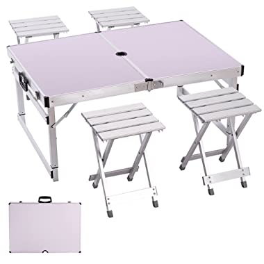 Camp Solutions Portable Folding Table Sturdy and Lightweight Aluminum Legs with 4 Folding Chairs, 3 Adjustable Heights feet, for Indoor/Outdoor Use,Camping Picnic, Party Dining, White