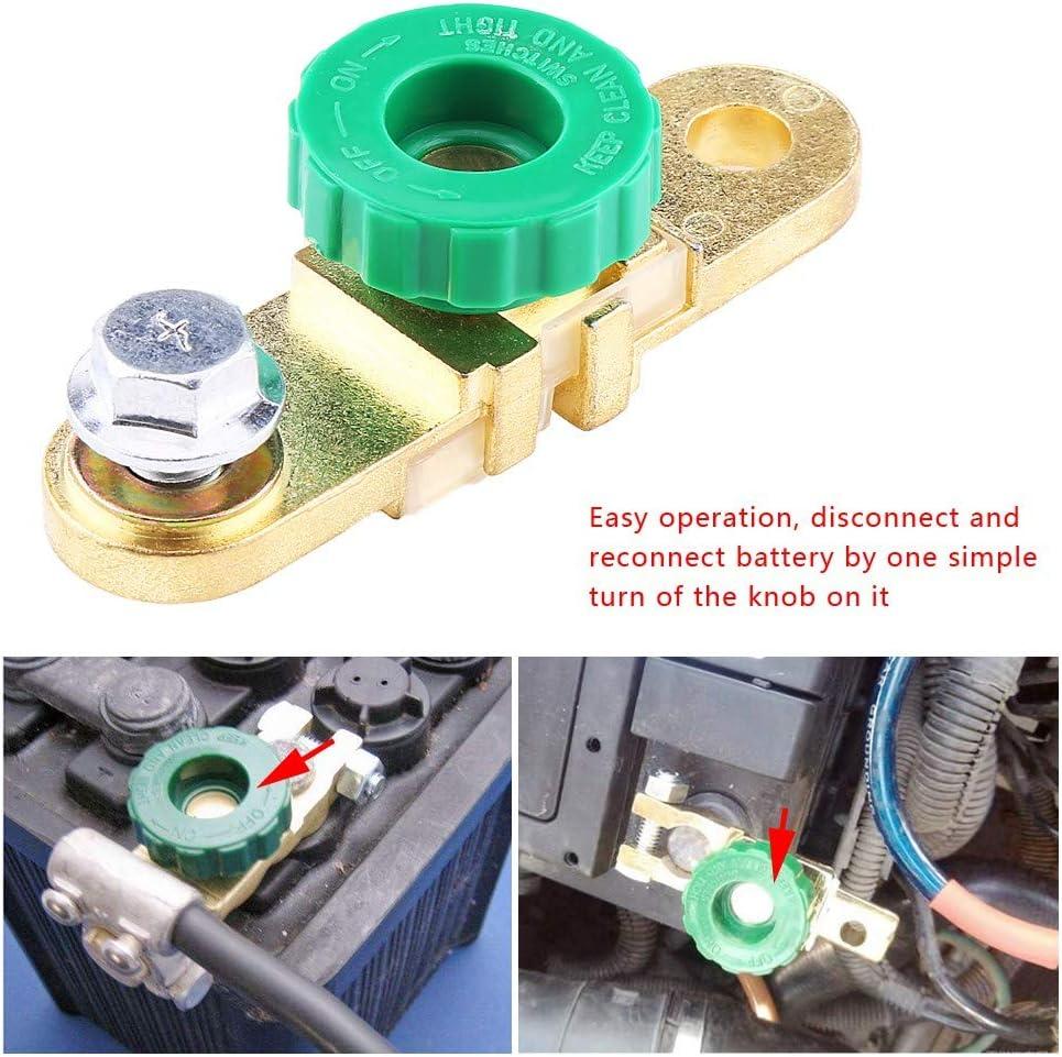 1Pcs Green Head Interruptor del enlace del terminal de la bater/ía del autom/óvil Corte r/ápido Desconexi/ón Accesorio autom/ático Enlace del terminal de la bater/ía