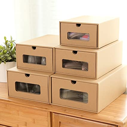 Shoes Box Cardboard Shoes Storage Boxes Ladies Men Children Stackable Plastic Shoe Storage Box (5PCS & Amazon.com: Shoes Box Cardboard Shoes Storage Boxes Ladies Men ...